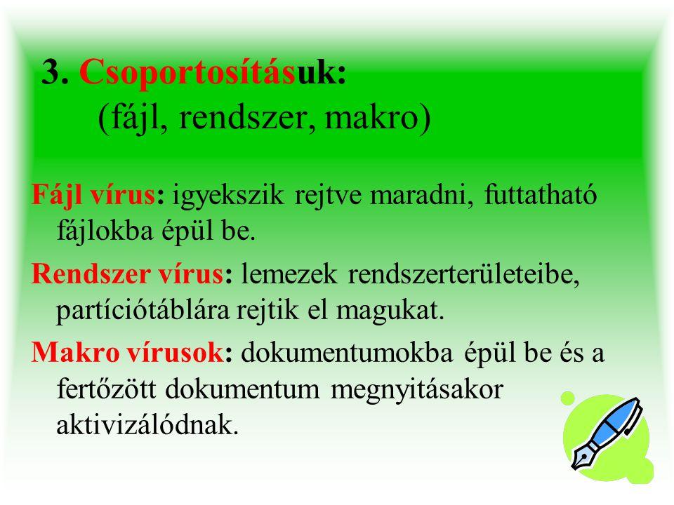 3. Csoportosításuk: (fájl, rendszer, makro) Fájl vírus: igyekszik rejtve maradni, futtatható fájlokba épül be. Rendszer vírus: lemezek rendszerterület