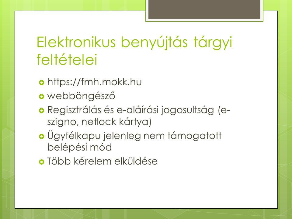 Elektronikus benyújtás tárgyi feltételei  https://fmh.mokk.hu  webböngésző  Regisztrálás és e-aláírási jogosultság (e- szigno, netlock kártya)  Üg