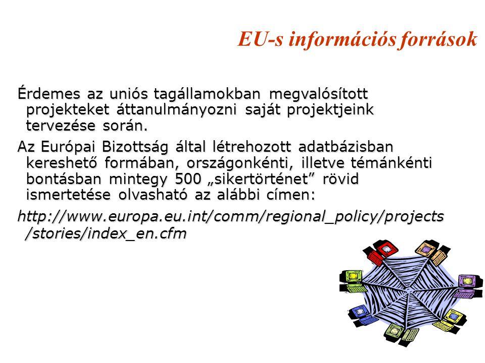 EU-s információs források Érdemes az uniós tagállamokban megvalósított projekteket áttanulmányozni saját projektjeink tervezése során. Az Európai Bizo