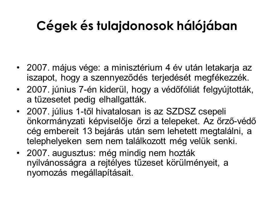 Cégek és tulajdonosok hálójában •2007. május vége: a minisztérium 4 év után letakarja az iszapot, hogy a szennyeződés terjedését megfékezzék. •2007. j