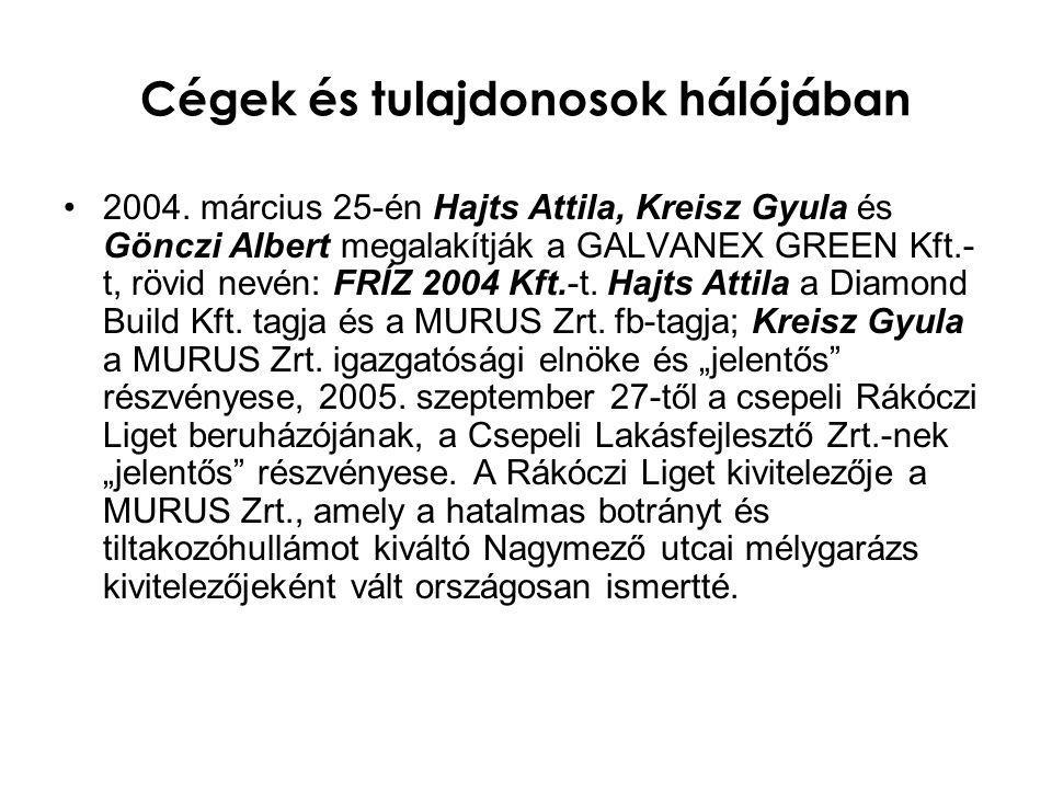 Cégek és tulajdonosok hálójában •2004. március 25-én Hajts Attila, Kreisz Gyula és Gönczi Albert megalakítják a GALVANEX GREEN Kft.- t, rövid nevén: F