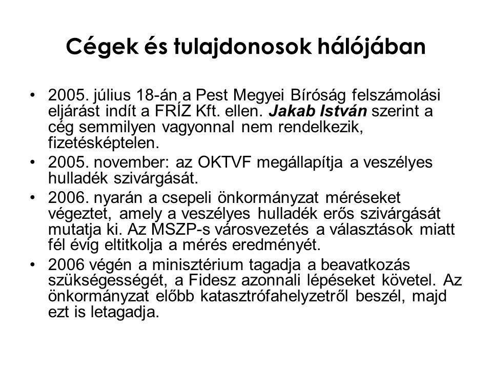 Cégek és tulajdonosok hálójában •2007.január 23., önkormányzati ülés: a Fidesz javaslatát, hogy azonnal vitesse el az önkormányzat a galvániszapot, és a felelősöktől peres úton hajtsa be a kármentesítés költségét, leszavazza az MSZP-SZDSZ- es többség.