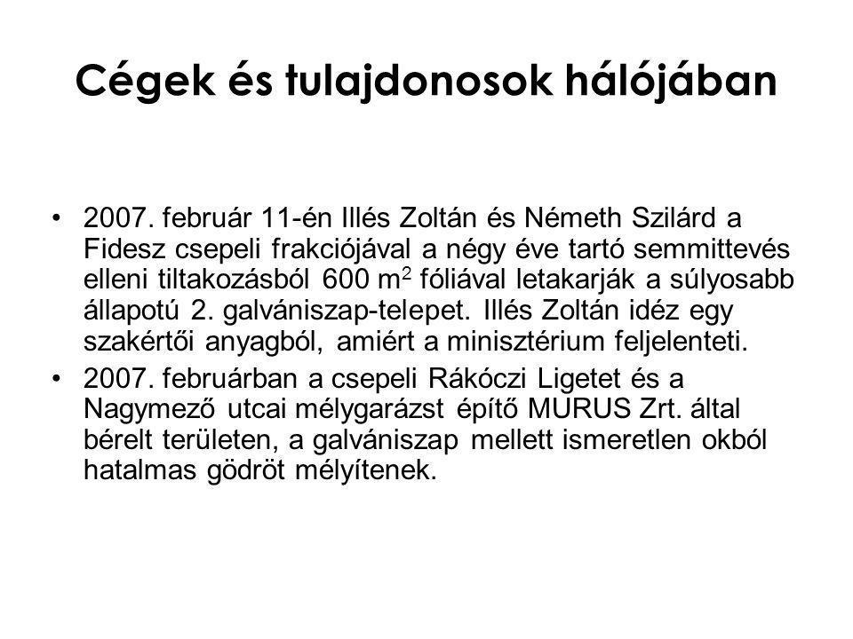 Cégek és tulajdonosok hálójában •2007. február 11-én Illés Zoltán és Németh Szilárd a Fidesz csepeli frakciójával a négy éve tartó semmittevés elleni