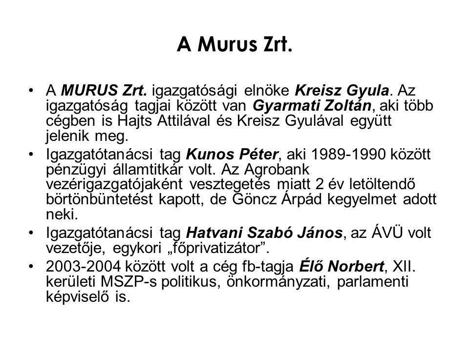 A Murus Zrt. •A MURUS Zrt. igazgatósági elnöke Kreisz Gyula. Az igazgatóság tagjai között van Gyarmati Zoltán, aki több cégben is Hajts Attilával és K
