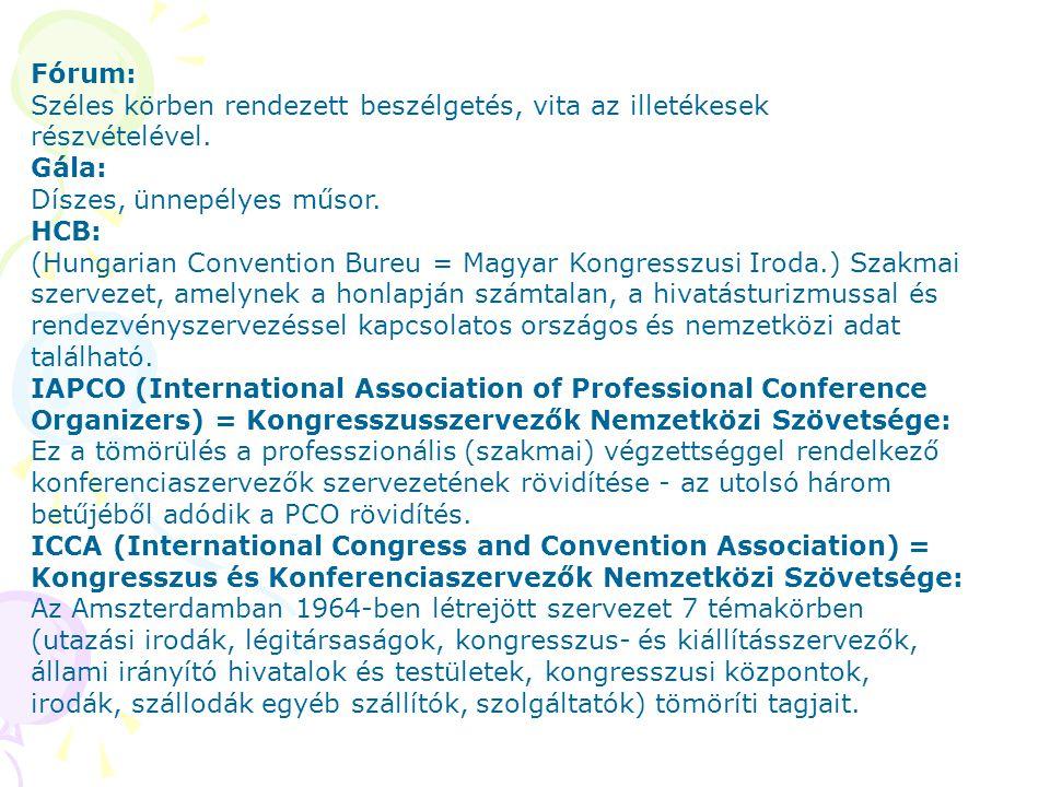Fórum: Széles körben rendezett beszélgetés, vita az illetékesek részvételével. Gála: Díszes, ünnepélyes műsor. HCB: (Hungarian Convention Bureu = Magy