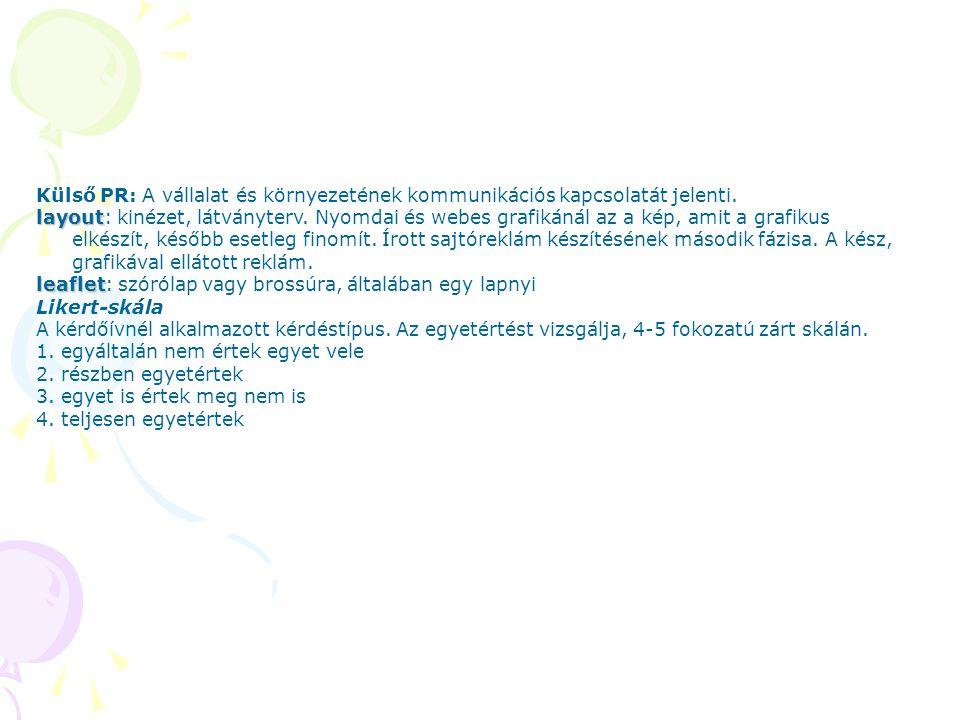 Külső PR: A vállalat és környezetének kommunikációs kapcsolatát jelenti. layout layout: kinézet, látványterv. Nyomdai és webes grafikánál az a kép, am
