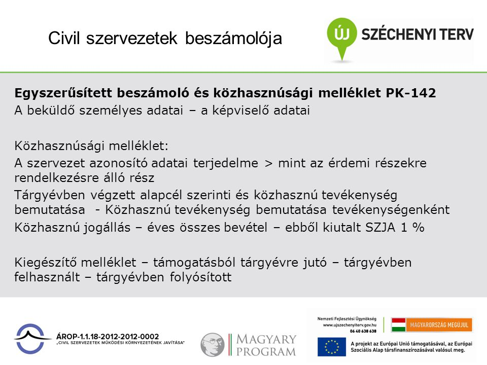 Civil szervezetek beszámolója Egyszerűsített beszámoló és közhasznúsági melléklet PK-142 A beküldő személyes adatai – a képviselő adatai Közhasznúsági melléklet: A szervezet azonosító adatai terjedelme > mint az érdemi részekre rendelkezésre álló rész Tárgyévben végzett alapcél szerinti és közhasznú tevékenység bemutatása - Közhasznú tevékenység bemutatása tevékenységenként Közhasznú jogállás – éves összes bevétel – ebből kiutalt SZJA 1 % Kiegészítő melléklet – támogatásból tárgyévre jutó – tárgyévben felhasznált – tárgyévben folyósított