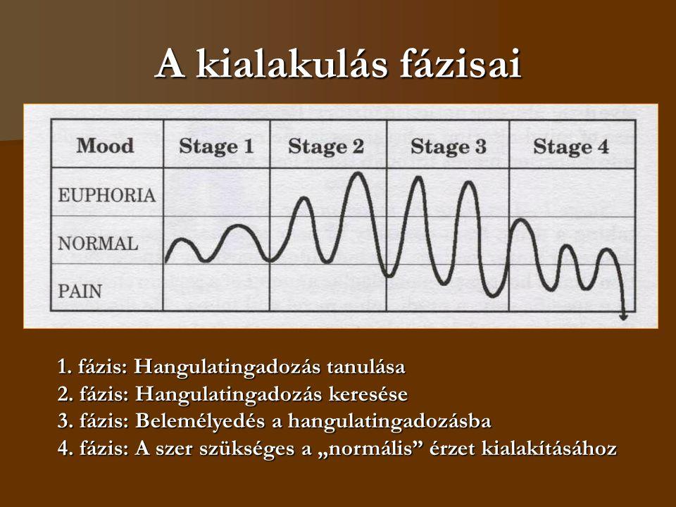 A kialakulás fázisai 1. fázis: Hangulatingadozás tanulása 2. fázis: Hangulatingadozás keresése 3. fázis: Belemélyedés a hangulatingadozásba 4. fázis: