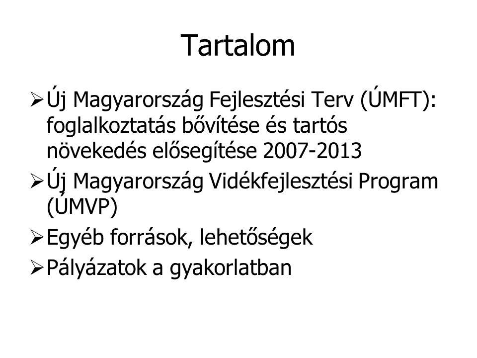 Tartalom  Új Magyarország Fejlesztési Terv (ÚMFT): foglalkoztatás bővítése és tartós növekedés elősegítése 2007-2013  Új Magyarország Vidékfejleszté
