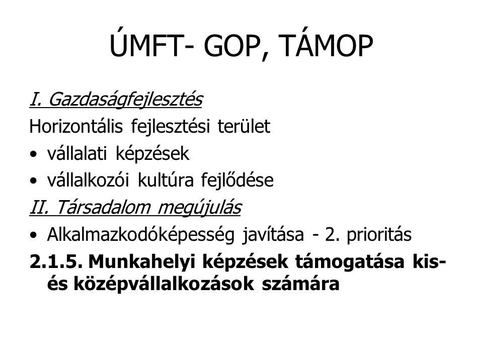 ÚMFT- GOP, TÁMOP I. Gazdaságfejlesztés Horizontális fejlesztési terület •vállalati képzések •vállalkozói kultúra fejlődése II. Társadalom megújulás •A
