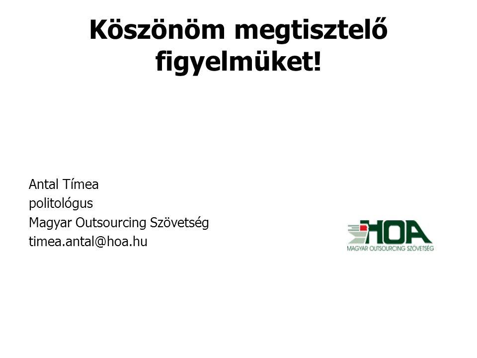 Köszönöm megtisztelő figyelmüket! Antal Tímea politológus Magyar Outsourcing Szövetség timea.antal@hoa.hu