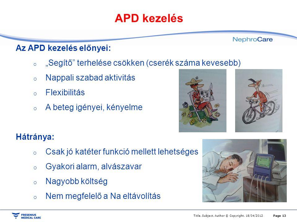 """APD kezelés Page 13Title, Subject, Author © Copyright, 18/04/2012 Az APD kezelés előnyei: o """"Segítő"""" terhelése csökken (cserék száma kevesebb) o Nappa"""