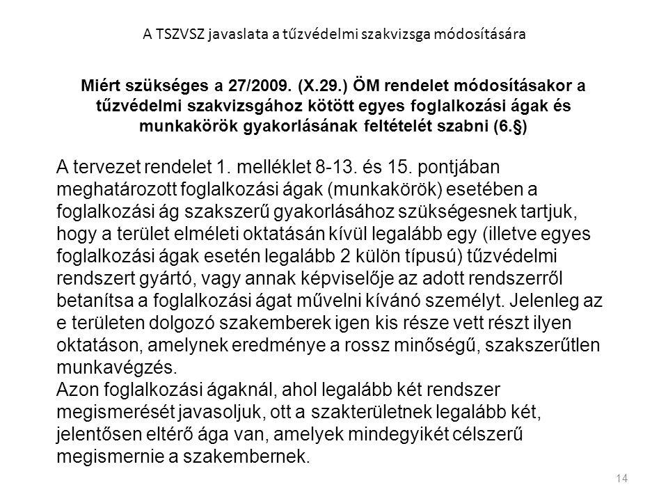 14 Miért szükséges a 27/2009. (X.29.) ÖM rendelet módosításakor a tűzvédelmi szakvizsgához kötött egyes foglalkozási ágak és munkakörök gyakorlásának