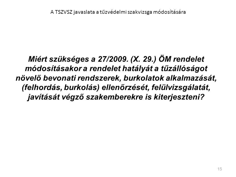 15 A TSZVSZ javaslata a tűzvédelmi szakvizsga módosítására Miért szükséges a 27/2009. (X. 29.) ÖM rendelet módosításakor a rendelet hatályát a tűzálló