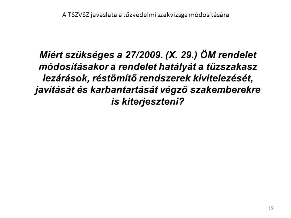 19 A TSZVSZ javaslata a tűzvédelmi szakvizsga módosítására Miért szükséges a 27/2009. (X. 29.) ÖM rendelet módosításakor a rendelet hatályát a tűzszak