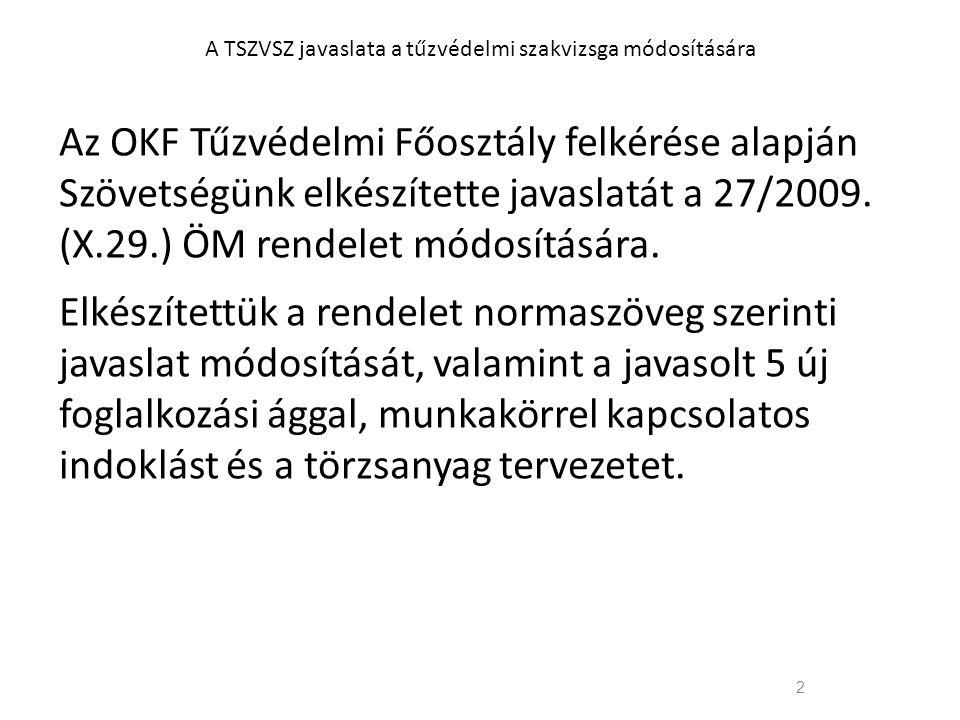 2 A TSZVSZ javaslata a tűzvédelmi szakvizsga módosítására Az OKF Tűzvédelmi Főosztály felkérése alapján Szövetségünk elkészítette javaslatát a 27/2009