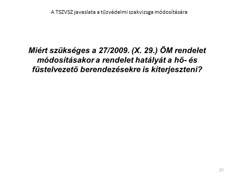 21 A TSZVSZ javaslata a tűzvédelmi szakvizsga módosítására Miért szükséges a 27/2009. (X. 29.) ÖM rendelet módosításakor a rendelet hatályát a hő- és