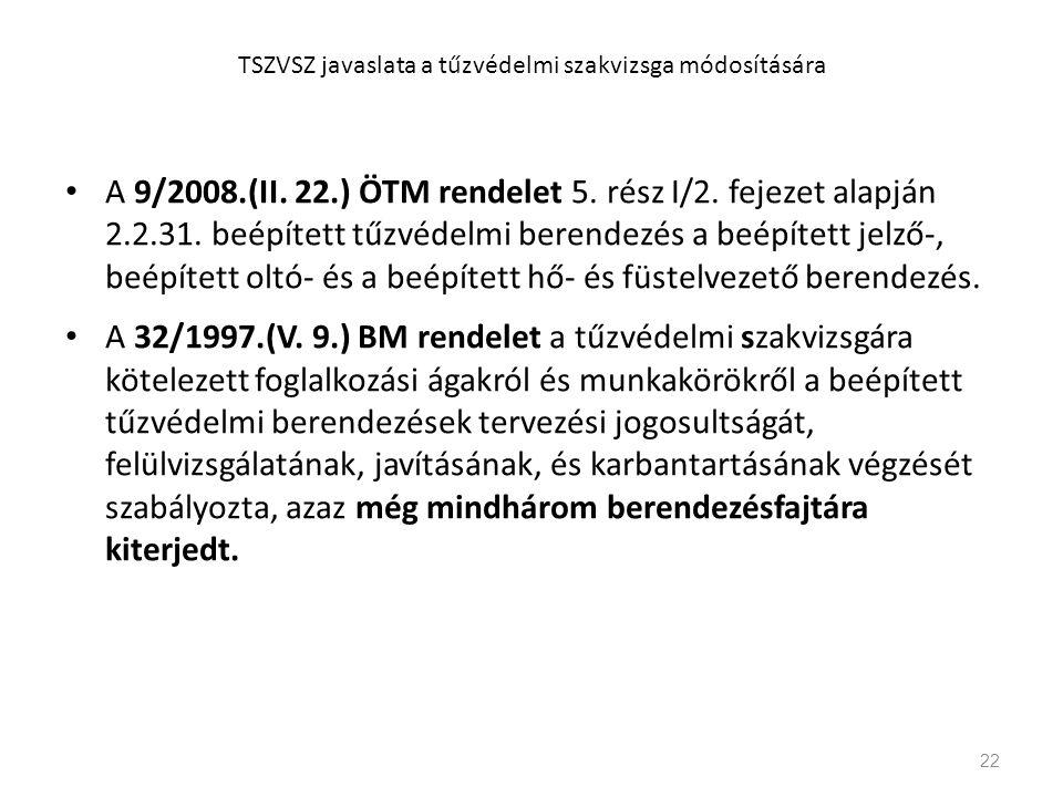 • A 9/2008.(II. 22.) ÖTM rendelet 5. rész I/2. fejezet alapján 2.2.31. beépített tűzvédelmi berendezés a beépített jelző-, beépített oltó- és a beépít