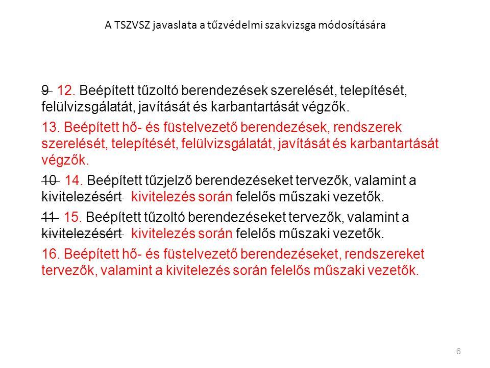6 A TSZVSZ javaslata a tűzvédelmi szakvizsga módosítására 9 12. Beépített tűzoltó berendezések szerelését, telepítését, felülvizsgálatát, javítását és