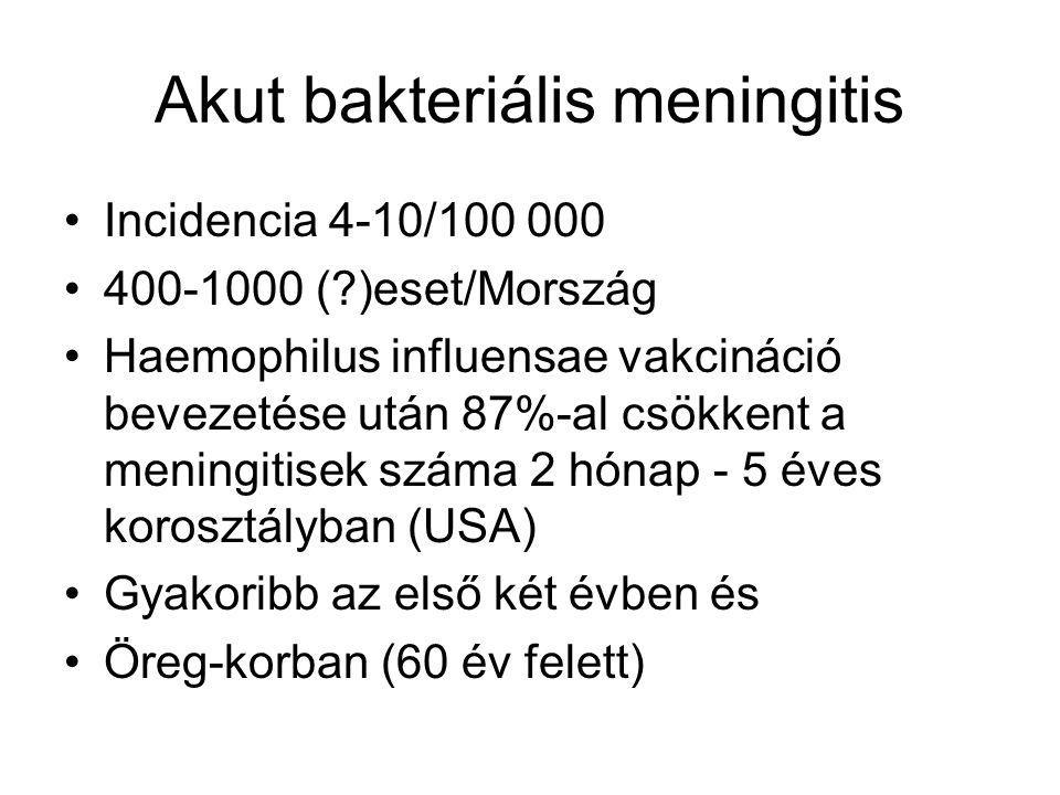 Akut bakteriális meningitis •Incidencia 4-10/100 000 •400-1000 (?)eset/Mország •Haemophilus influensae vakcináció bevezetése után 87%-al csökkent a meningitisek száma 2 hónap - 5 éves korosztályban (USA) •Gyakoribb az első két évben és •Öreg-korban (60 év felett)