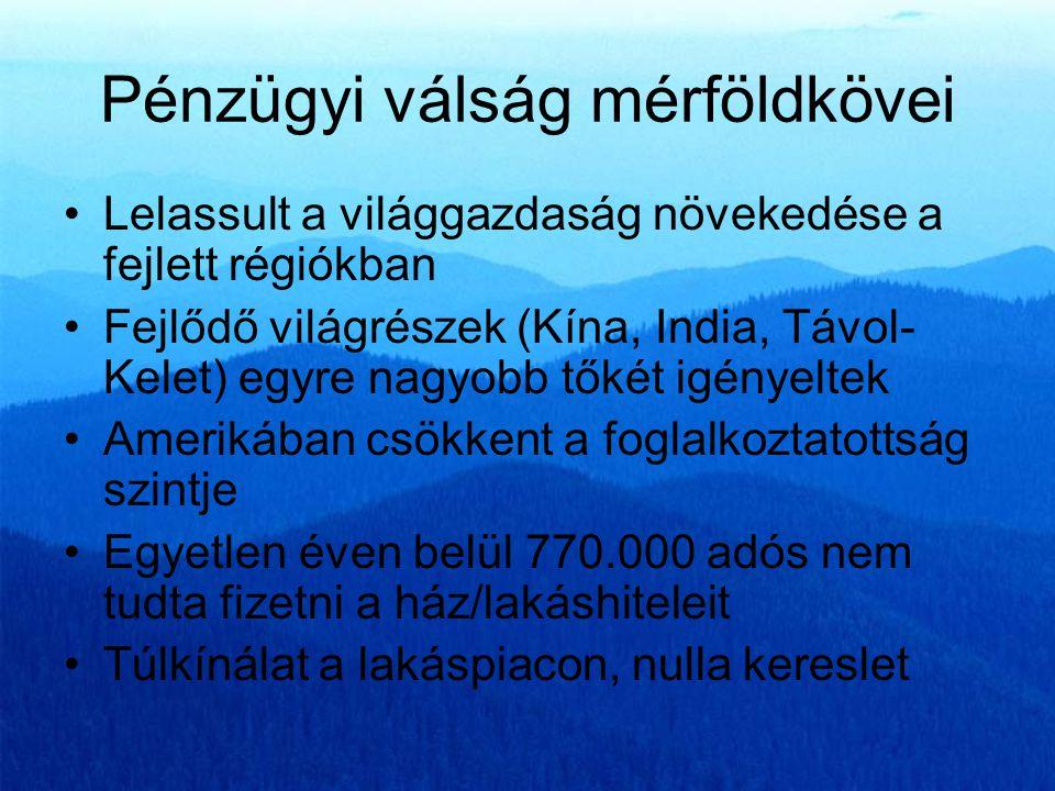 FŐBB MAKROGAZDASÁGI JELZŐSZÁMOK (Éves adatok) Megnevezés 2001200220032004200520062007 Bruttó államadósság % 52,155,858,159,461,7 65,665,8 Államháztartás egyenlege -618,20-1 534,80-1 360,23-1 323,66-1 718,68-2 212,03-1 270,96 Bruttó államadósság Mrd 7 953,309 573,7810 981,8512 296,2113 582,5115 592,5016 729,30 Átlagos évenkénti túlköltekezés1 500 milliárd Ft