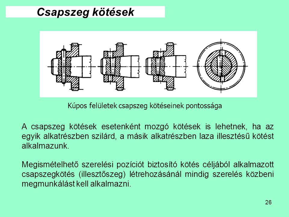 26 Kúpos felületek csapszeg kötéseinek pontossága Csapszeg kötések A csapszeg kötések esetenként mozgó kötések is lehetnek, ha az egyik alkatrészben s