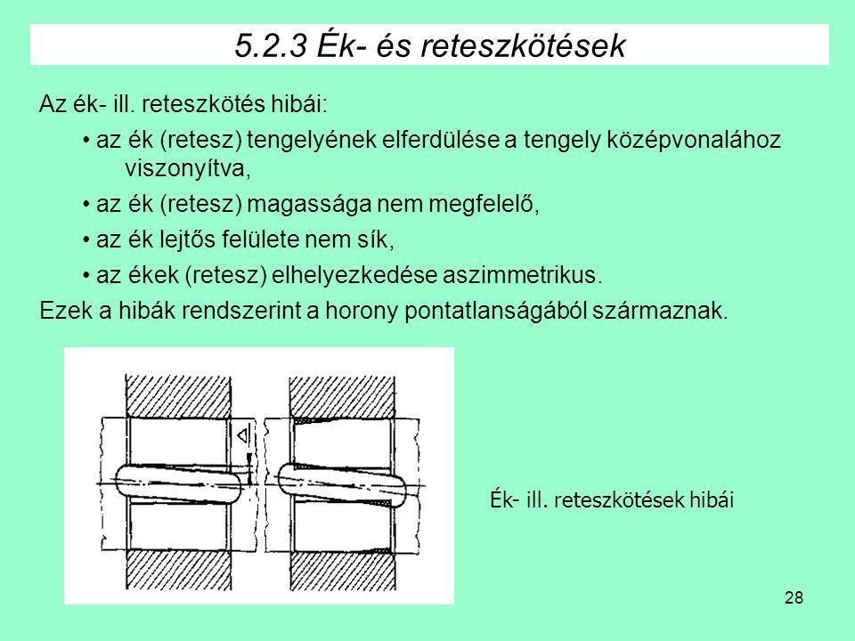 28 Ék- ill. reteszkötések hibái 5.2.3 Ék- és reteszkötések Az ék- ill. reteszkötés hibái: • az ék (retesz) tengelyének elferdülése a tengely középvona
