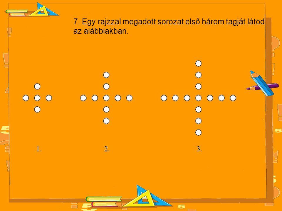 7. Egy rajzzal megadott sorozat első három tagját látod az alábbiakban.