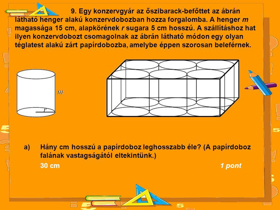 9. Egy konzervgyár az őszibarack-befőttet az ábrán látható henger alakú konzervdobozban hozza forgalomba. A henger m magassága 15 cm, alapkörének r su
