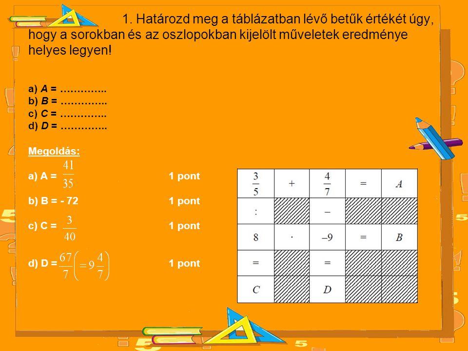 1. Határozd meg a táblázatban lévő betűk értékét úgy, hogy a sorokban és az oszlopokban kijelölt műveletek eredménye helyes legyen! a) A = ………….. b) B