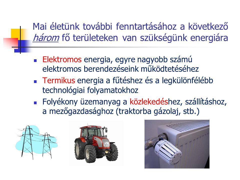 Mai életünk további fenntartásához a következő három fő területeken van szükségünk energiára  Elektromos energia, egyre nagyobb számú elektromos bere