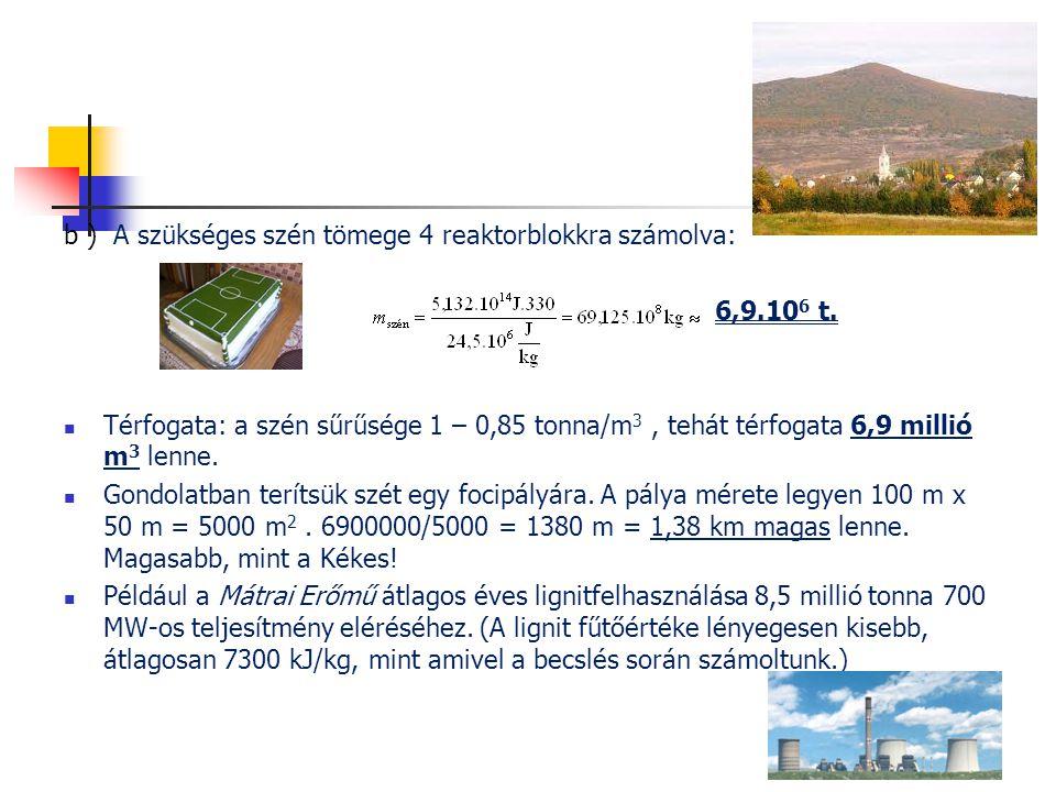 b ) A szükséges szén tömege 4 reaktorblokkra számolva: 6,9.10 6 t.  Térfogata: a szén sűrűsége 1 – 0,85 tonna/m 3, tehát térfogata 6,9 millió m 3 len