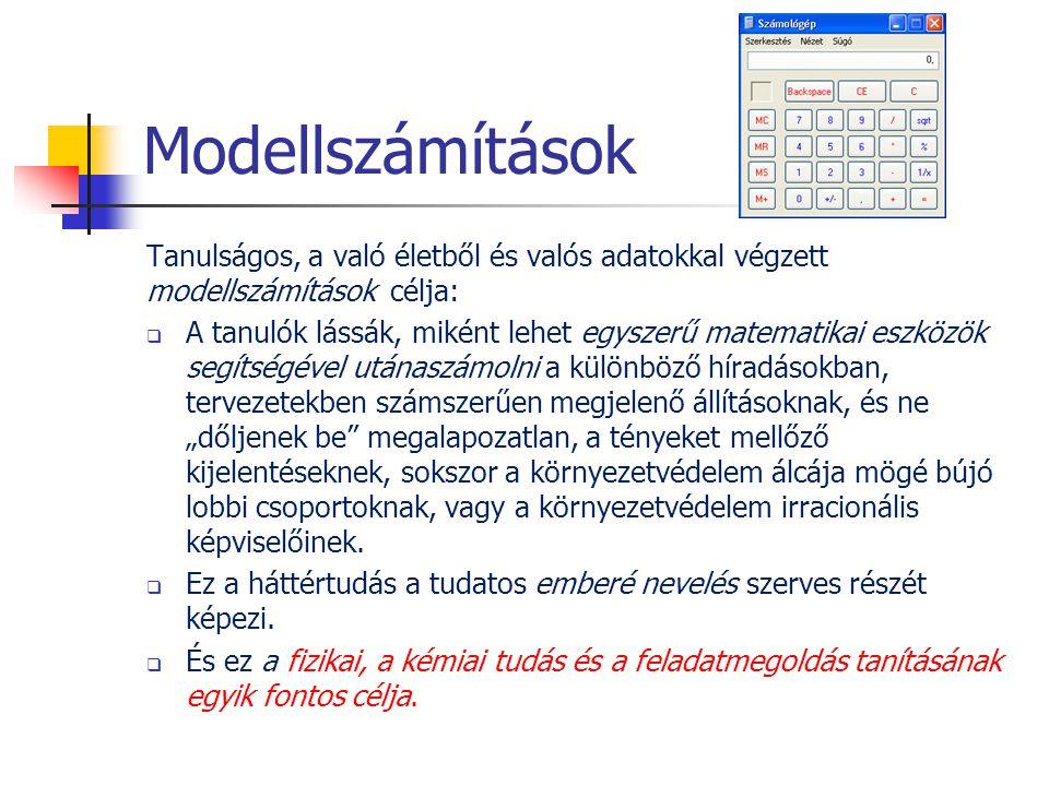 Modellszámítások Tanulságos, a való életből és valós adatokkal végzett modellszámítások célja:  A tanulók lássák, miként lehet egyszerű matematikai e