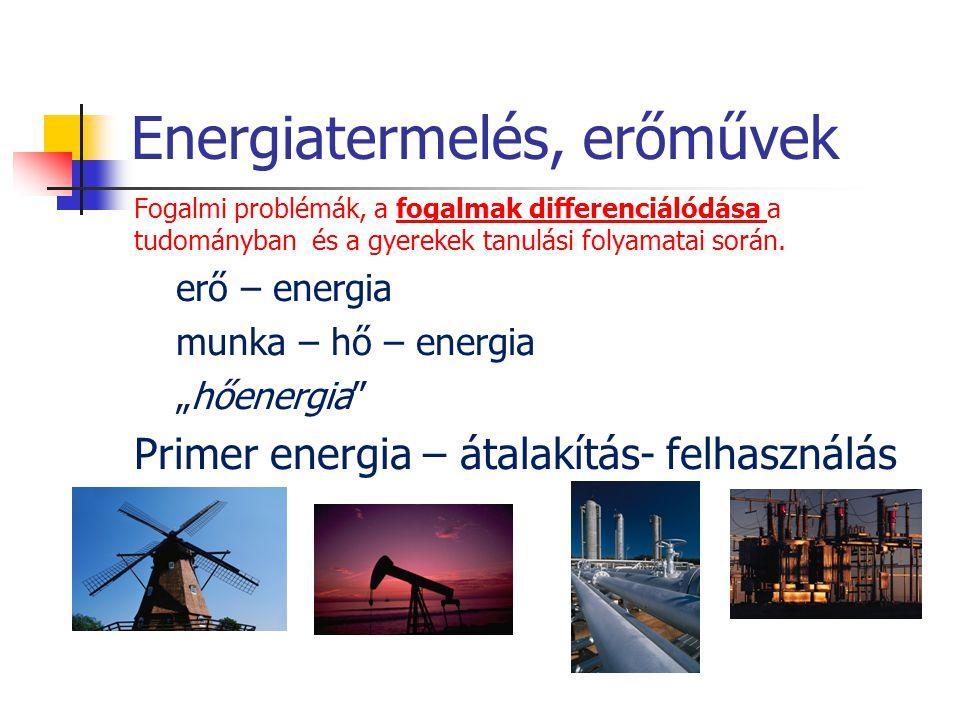 Energiatermelés, erőművek Fogalmi problémák, a fogalmak differenciálódása a tudományban és a gyerekek tanulási folyamatai során. erő – energia munka –