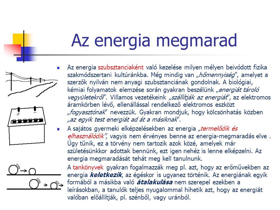 """Az energia megmarad  Az energia szubsztanciaként való kezelése milyen mélyen beivódott fizika szakmódszertani kultúránkba. Még mindig van """"hőmennyisé"""