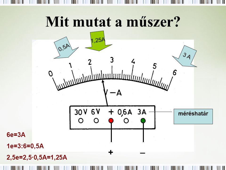 Mit mutat a műszer? 0,5A 3 A méréshatár + _ 1,25A 6e=3A 1e=3:6=0,5A 2,5e=2,5·0,5A=1,25A