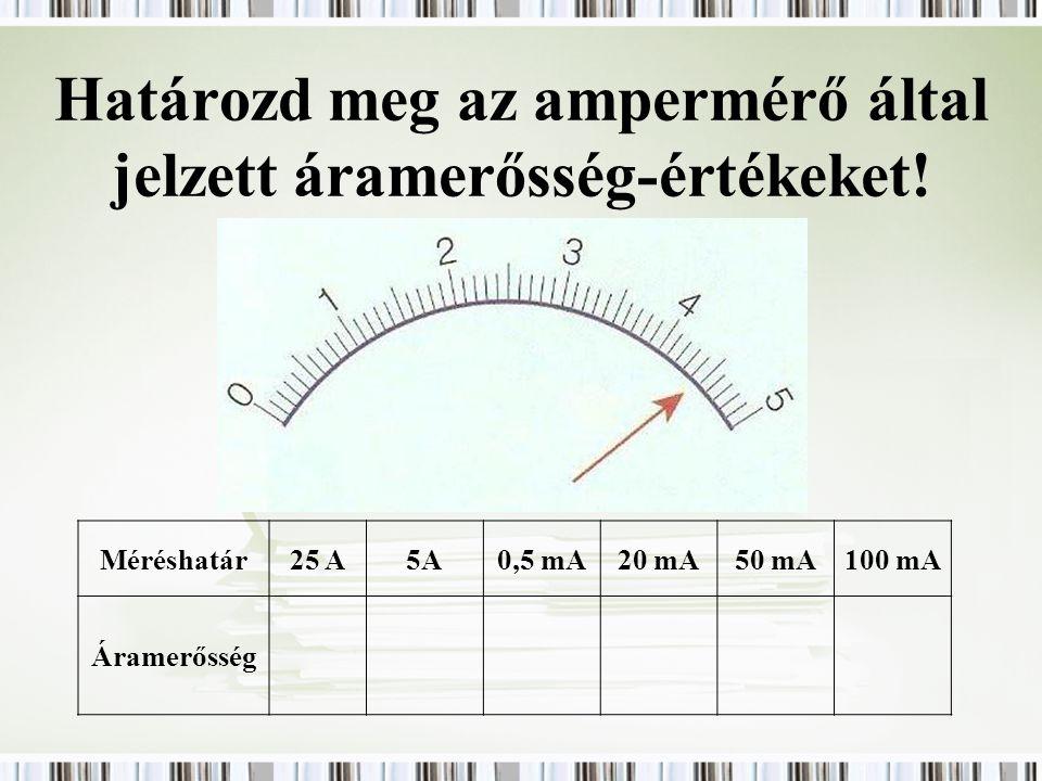 Határozd meg az ampermérő által jelzett áramerősség-értékeket! Méréshatár25 A5A0,5 mA20 mA50 mA100 mA Áramerősség
