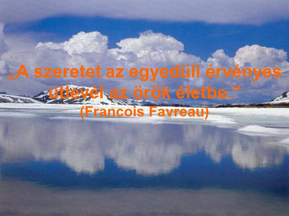 """""""A szeretet az egyedüli érvényes útlevél az örök életbe."""" (Francois Favreau)"""