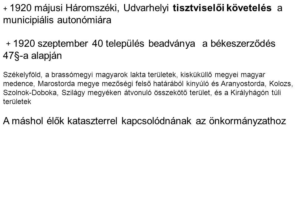 + 1920 májusi Háromszéki, Udvarhelyi tisztviselői követelés a municipiális autonómiára + 1920 szeptember 40 település beadványa a békeszerződés 47§-a