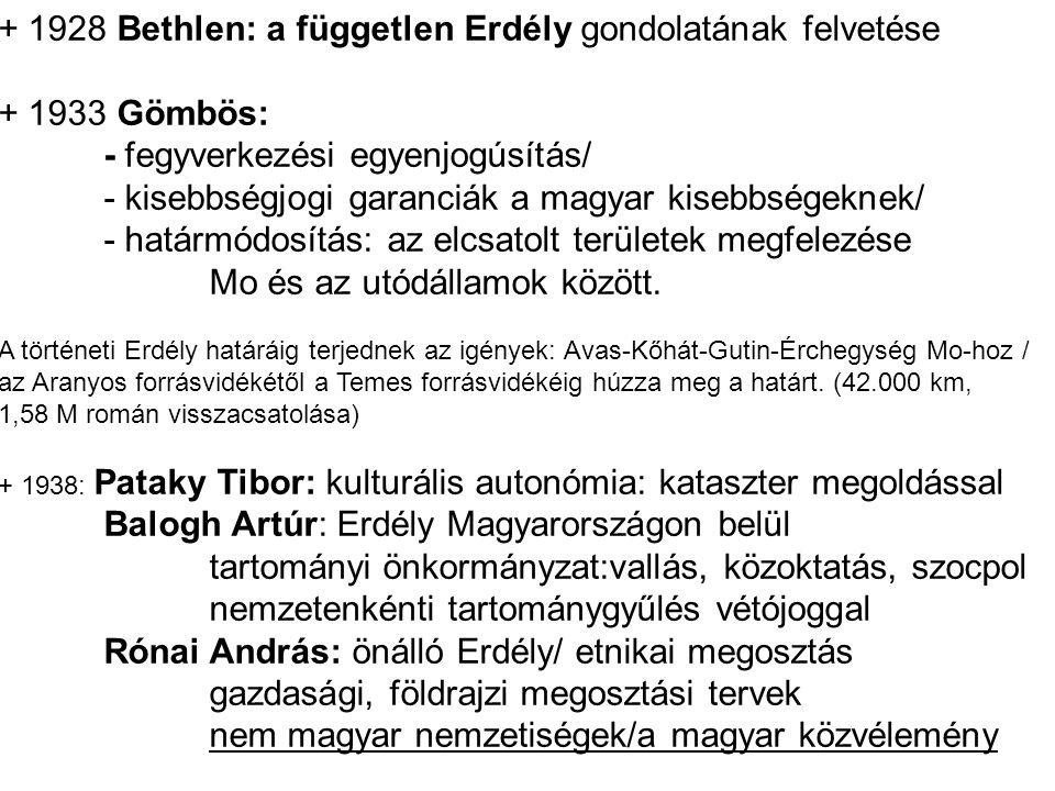 + 1928 Bethlen: a független Erdély gondolatának felvetése + 1933 Gömbös: - fegyverkezési egyenjogúsítás/ - kisebbségjogi garanciák a magyar kisebbsége