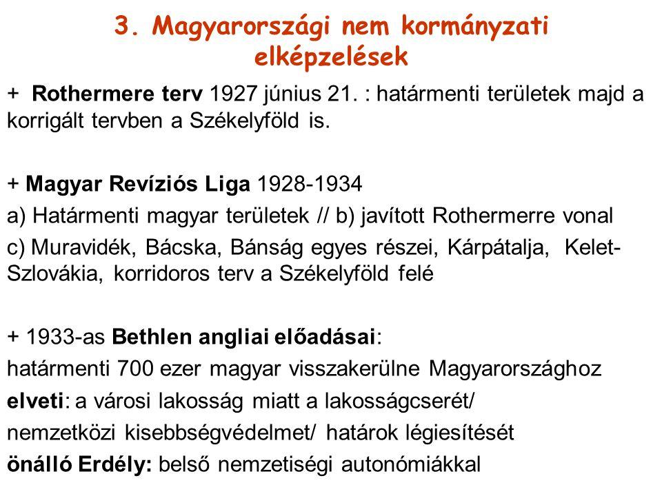 3. Magyarországi nem kormányzati elképzelések + Rothermere terv 1927 június 21. : határmenti területek majd a korrigált tervben a Székelyföld is. + Ma