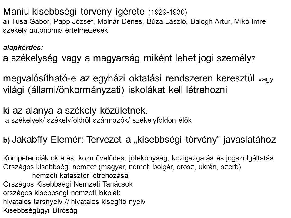 Maniu kisebbségi törvény ígérete (1929-1930) a) Tusa Gábor, Papp József, Molnár Dénes, Búza László, Balogh Artúr, Mikó Imre székely autonómia értelmez