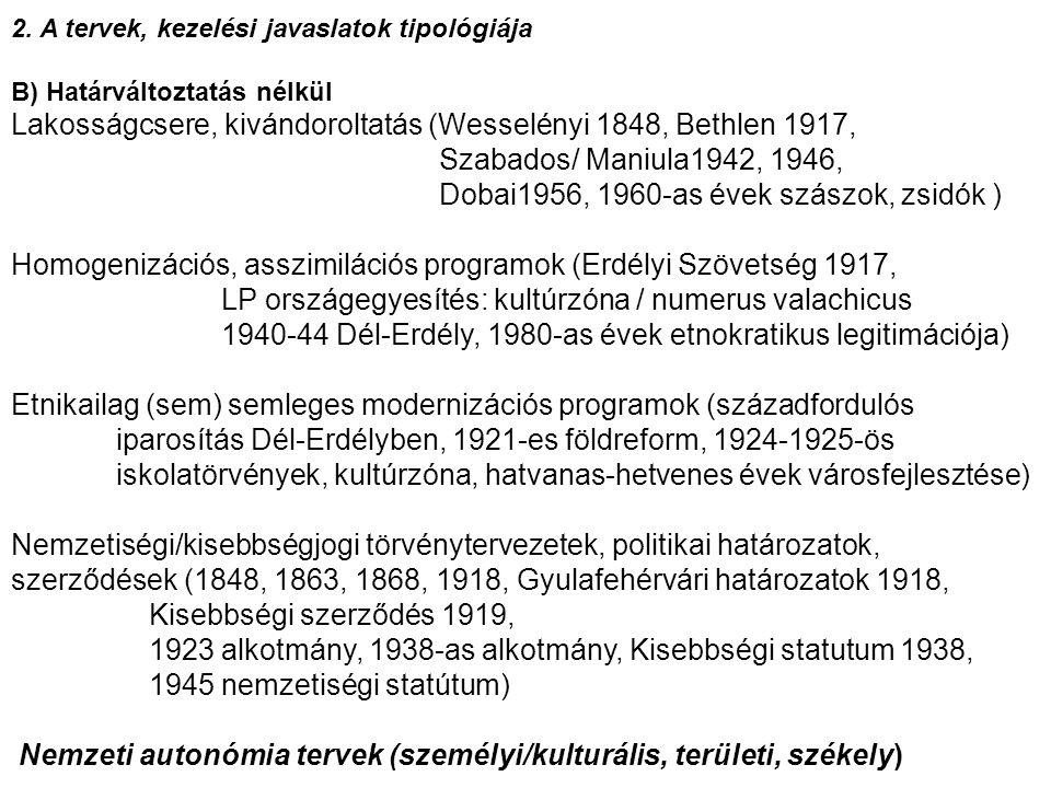 B) Határváltoztatás nélkül 2. A tervek, kezelési javaslatok tipológiája B) Határváltoztatás nélkül Lakosságcsere, kivándoroltatás (Wesselényi 1848, Be