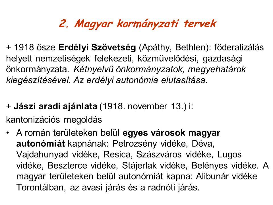 + 1940 Bethlen a német-osztrák-cseh-magyar kombináció helyett lengyel-magyar-román szövetség: Erdély mint román magyar kondominium jelenik meg Mo a Királyhágóig/Erdély, Krassó-Szörény és Temes keleti része/ regáti Románia Besszarábia és Dobrudzsa anélkül,amit Oroszország meghagy + Államtudományi Intézet 1938-1940: a) korridoros terv – Erdély megosztása b) önálló Erdély belső alkotmányossággal: a területi és a kulturális autonómia vegyes alkalmazásával c) földrajzi, etnikai, gazdasági megosztás/ a lakosságcsere ellenzése d) a nemzetiségi kérdés Magyarországon belüli nyelvpolitikai rendezése