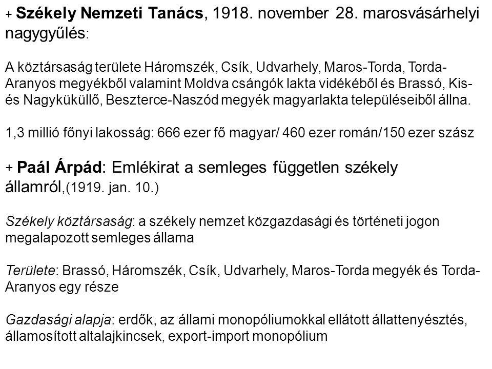 + Székely Nemzeti Tanács, 1918. november 28. marosvásárhelyi nagygyűlés : A köztársaság területe Háromszék, Csík, Udvarhely, Maros-Torda, Torda- Arany
