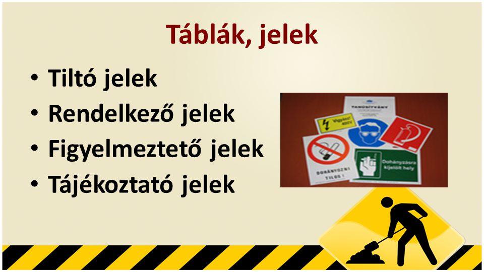 Táblák, jelek • Tiltó jelek • Rendelkező jelek • Figyelmeztető jelek • Tájékoztató jelek