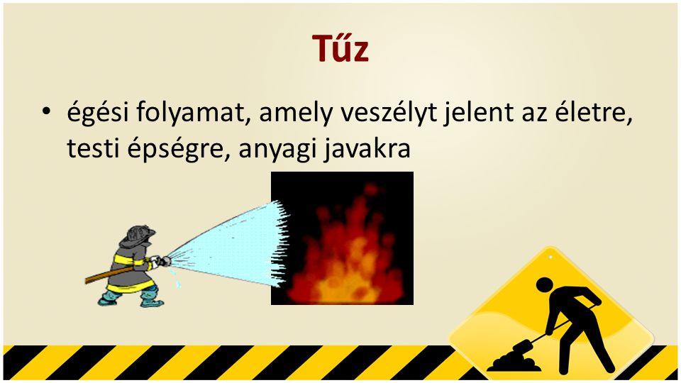 Tűz • égési folyamat, amely veszélyt jelent az életre, testi épségre, anyagi javakra