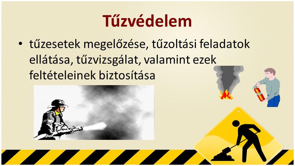 Tűzvédelem • tűzesetek megelőzése, tűzoltási feladatok ellátása, tűzvizsgálat, valamint ezek feltételeinek biztosítása