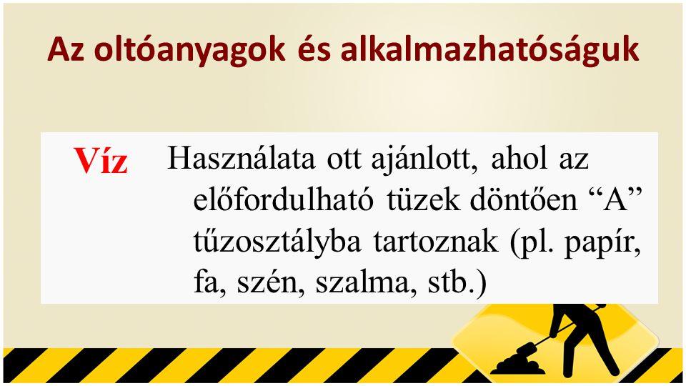 Az oltóanyagok és alkalmazhatóságuk Víz Használata ott ajánlott, ahol az előfordulható tüzek döntően A tűzosztályba tartoznak (pl.