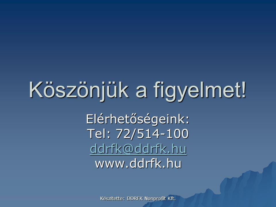 Köszönjük a figyelmet! Elérhetőségeink: Tel: 72/514-100 ddrfk@ddrfk.hu www.ddrfk.hu